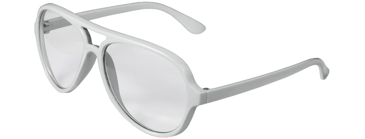 White Aviator Clear Lenses