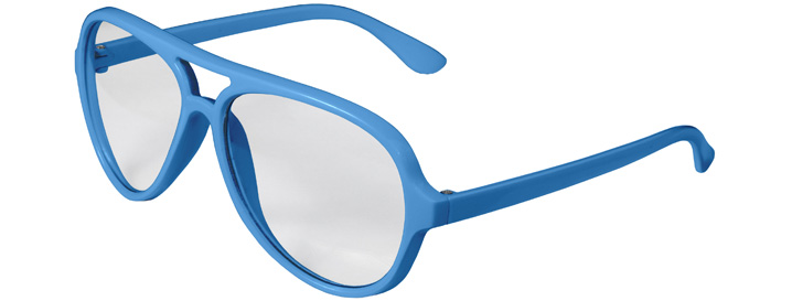 Neon Blue Aviator Clear Lenses