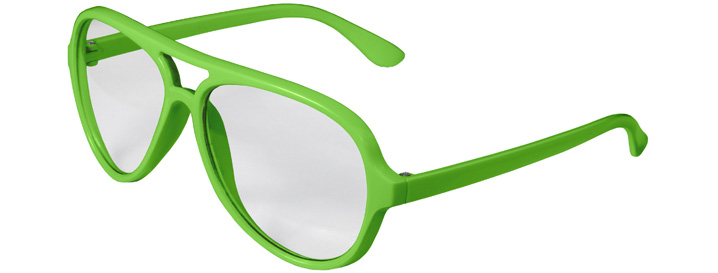 Neon Green Aviator Clear Lenses