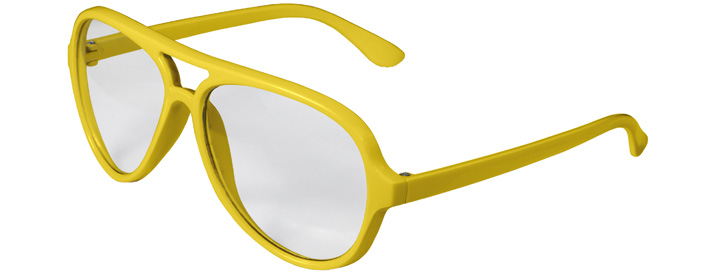 Neon Yellow Aviator Clear Lenses