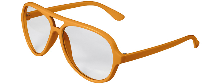 Neon Orange Aviator Clear Lenses