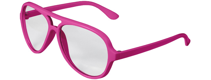 Neon Pink Aviator Clear Lenses