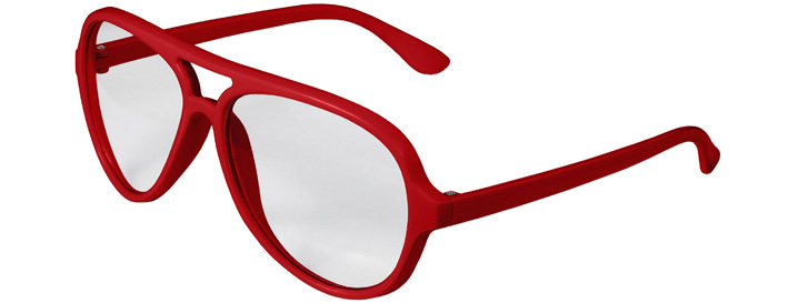 Red Aviator Clear Lenses