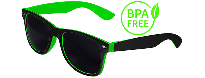 Black / Green BPA Free Retro In&Out Sunglasses