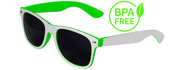 White / Green BPA Free Retro In&Out Sunglasses