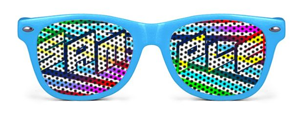 Retro Kids Logo Lenses® Sunglasses style Neon Blue