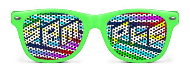 Retro Kids Logo Lenses® Sunglasses style Neon Green
