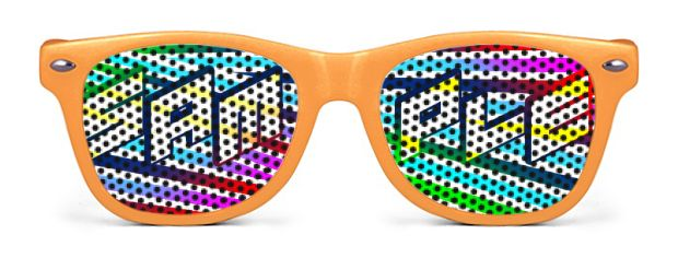 Retro Kids Logo Lenses® Sunglasses style Neon Orange