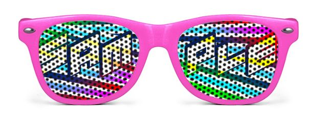 Retro Kids Logo Lenses® Sunglasses style Neon Pink