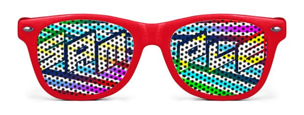 Retro Kids Logo Lenses® Sunglasses style Red