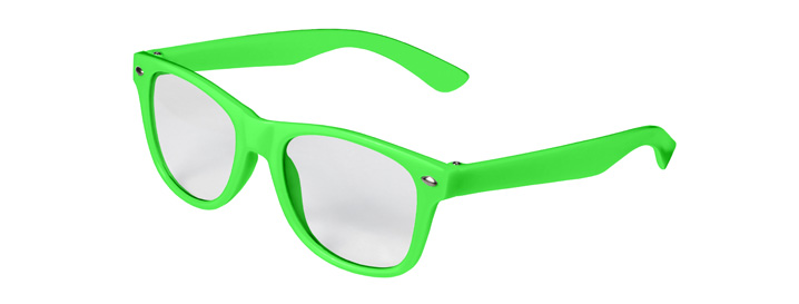 Retro Kids Clear Lenses style Neon Green