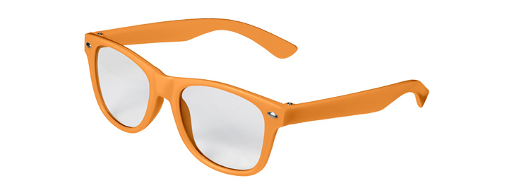 Retro Kids Clear Lenses style Neon Orange