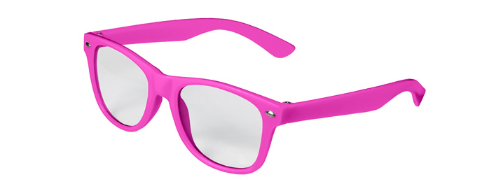 Retro Kids Clear Lenses style Neon Pink