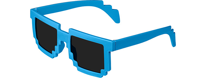 Neon Blue Pixel Sunglasses