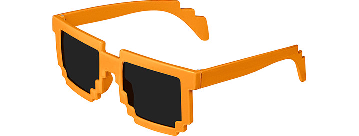 Neon Orange Pixel Sunglasses
