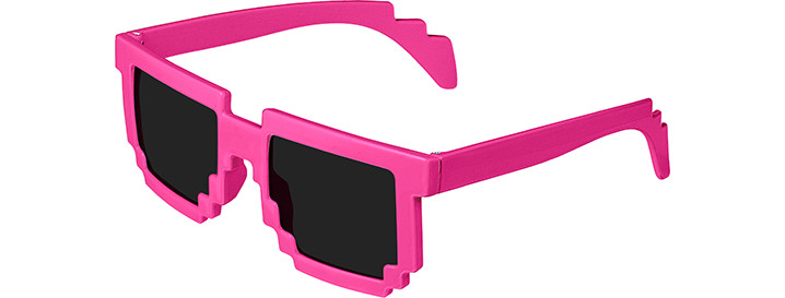 Pixel Sunglasses style Neon Pink