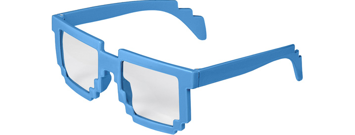 Neon Blue Pixel Clear Lenses