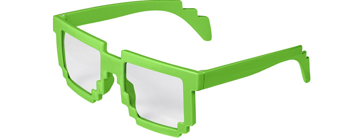 Neon Green Pixel Clear Lenses