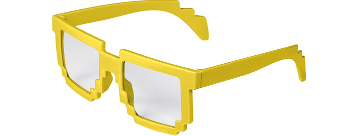 Neon Yellow Pixel Clear Lenses