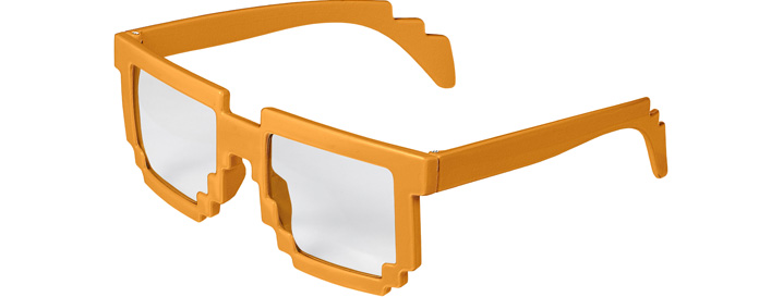 Neon Orange Pixel Clear Lenses
