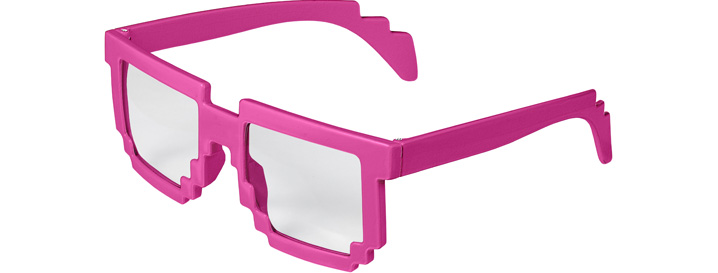 Neon Pink Pixel Clear Lenses