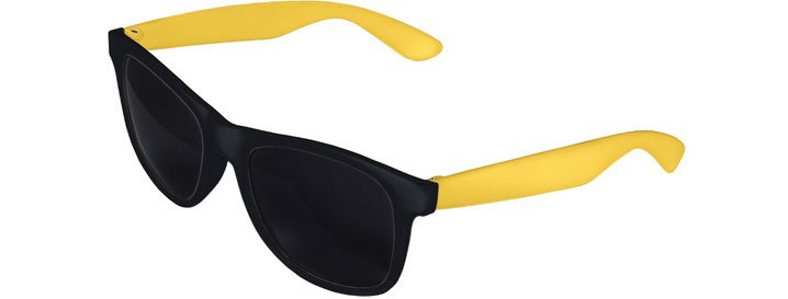 Retro 2 Tones Sunglasses style Black Front - Yellow
