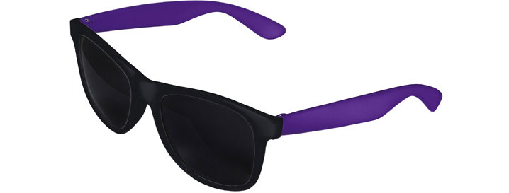 Retro 2 Tones Sunglasses style Black Front - Purple
