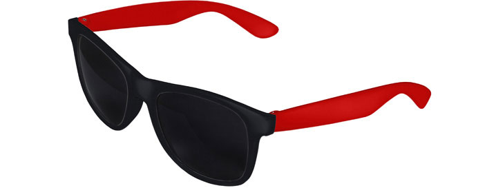 Retro 2 Tones Sunglasses style Black Front - Red