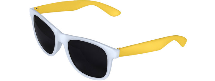 Retro 2 Tones Sunglasses style White Front - Yellow