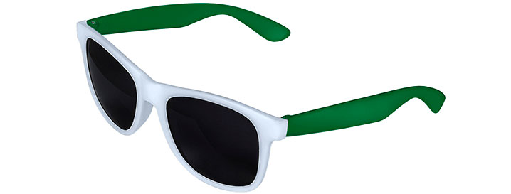 White Front - Kelly Green Retro 2 Tone Sunglasses