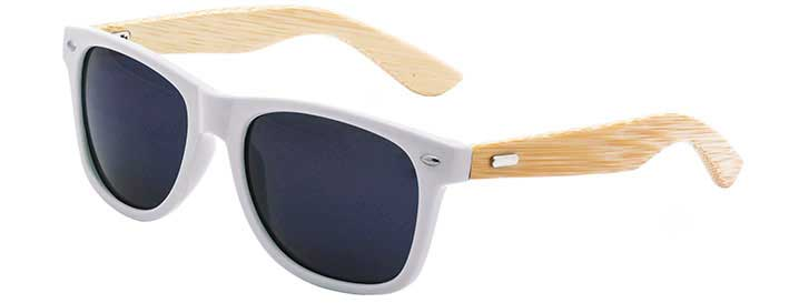 White Retro Bamboo Sunglasses