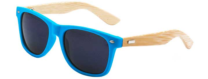 Neon Blue Retro Bamboo Sunglasses