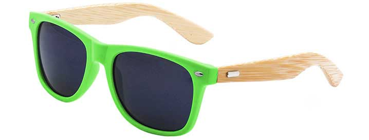 Retro Bamboo Sunglasses style Neon Green