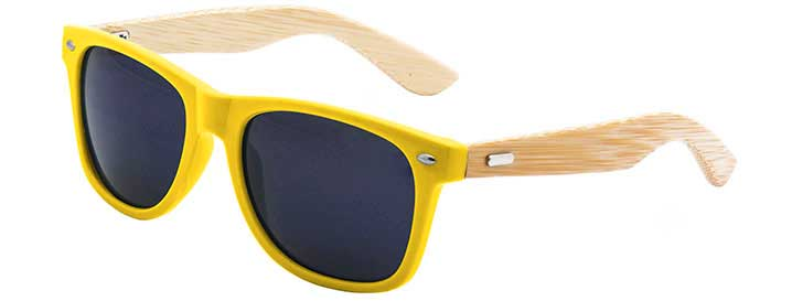 Retro Bamboo Sunglasses style Neon Yellow