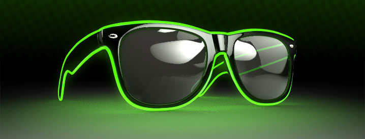 Neon Green Retro LED Glow Sunglasses