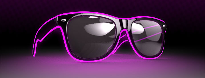 Neon Pink Retro LED Glow Sunglasses