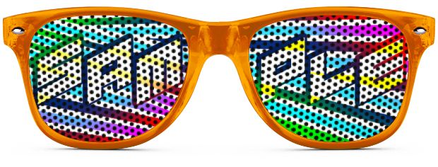 Logo Lenses® Rétro Solaire style Transparent Orange