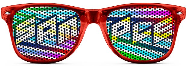 Retro Logo Lenses® Tinted Lenses style Transparent Red