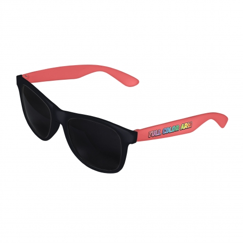 Black Front - Coral Retro 2 Tone Sunglasses with Full-Color Side Arm Printing Customization