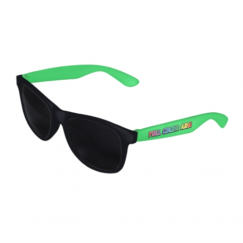 Black Front - Green Retro 2 Tone Sunglasses with Full-Color Side Arm Printing Customization