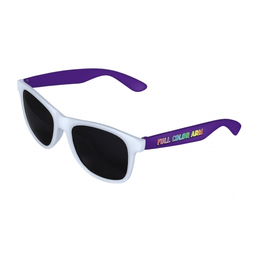 White Front - Purple Retro 2 Tone Sunglasses with Full-Color Side Arm Printing Customization