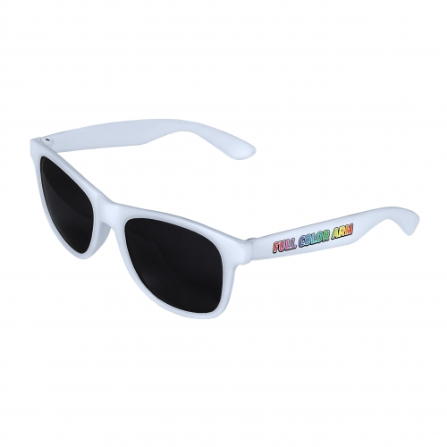 White Front - White Retro 2 Tone Sunglasses with Full-Color Side Arm Printing Customization