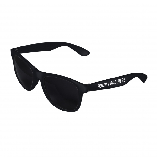 Black Front - Black Retro 2 Tone Sunglasses with 1 Color Side Arm Printing Customization