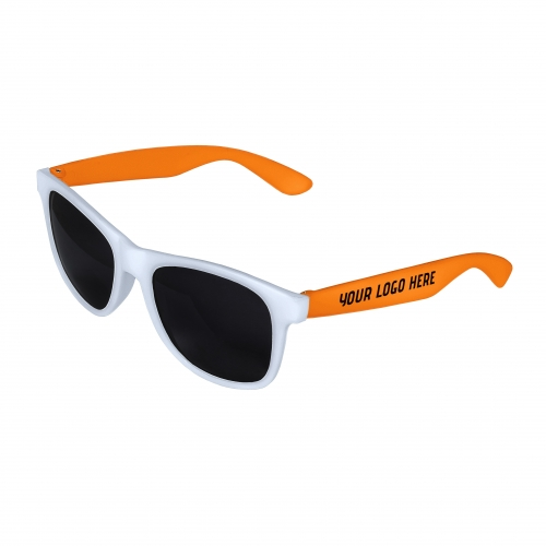 White Front - Orange Retro 2 Tone Sunglasses with 1 Color Side Arm Printing Customization