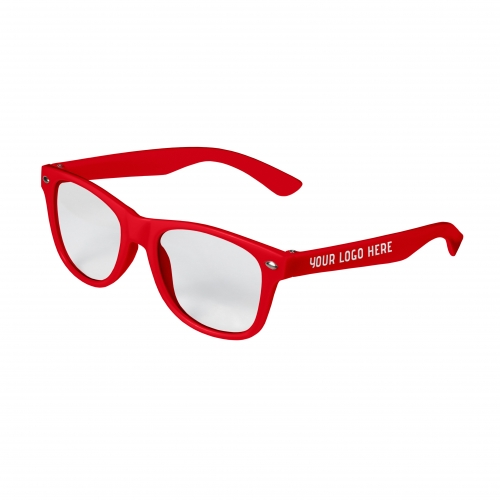 Red Retro Kids Clear Lenses with 1 Color Side Arm Printing Customization