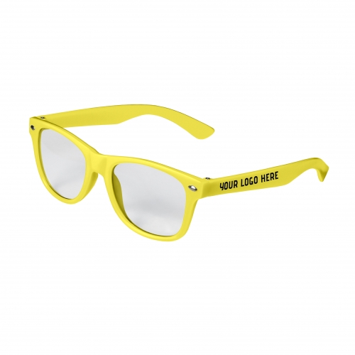 Yellow Retro Kids Clear Lenses with 1 Color Side Arm Printing Customization
