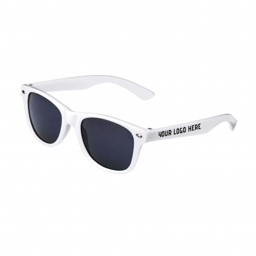 White Retro Kids Sunglasses with 1 Color Side Arm Printing Customization