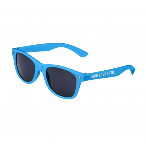 Blue Retro Kids Sunglasses with 1 Color Side Arm Printing Customization