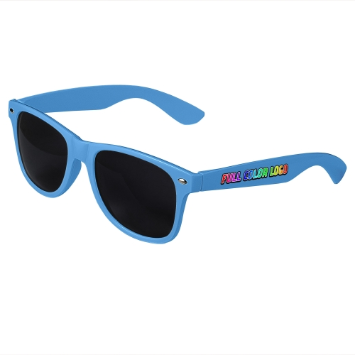 Blue Retro Sunglasses with Full-Color Side Arm Printing Customization