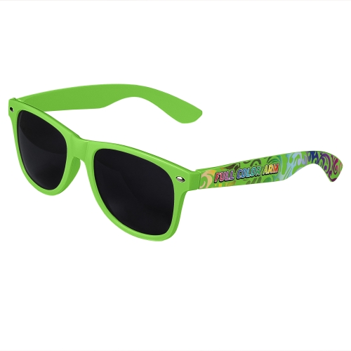 Green Retro Sunglasses with Full-Arm Full-Color Side Arm Printing Customization